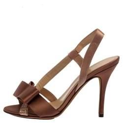 Fendi Brown Satin Crystal Embellished Bow Slingback Sandals Size 37.5