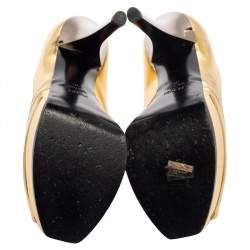 حذاء كعب عالى فندى نعل سميك مقدمة مفتوحة فينديستا جلد ذهبى مقاس 39