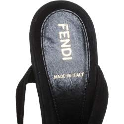 Fendi Black Net Fabric And Suede Ankle Wrap Platform Sandals Size 36