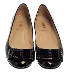 Fendi Black Patent Leather Studded Bow Ballet Flats Size 38