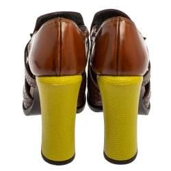 Fendi Brown/Yellow Leather Brogue Pumps Size 38
