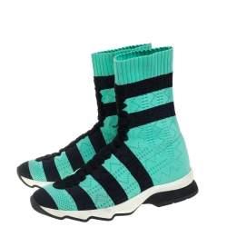 Fendi Green/Black Knit Fabric Striped Sock Sneakers Size 36