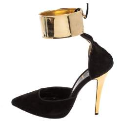 Fendi Black/Gold Suede Pointed Toe Ankle Cuff Pumps Size 36.5