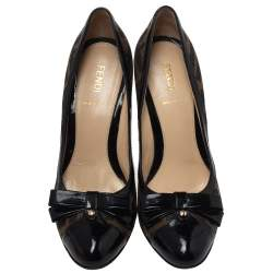 Fendi Zucca Canvas And Leather Bow Pumps Size 37.5