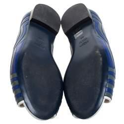 Fendi Blue/Grey  Leather Peep Toe Scallop Flats Size 40