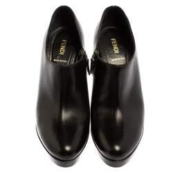 Fendi Black Leather Platform Ankle Booties Size 39