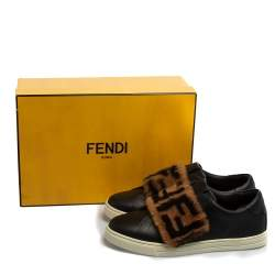 Fendi Brown/Black Leather And FF Motif Fur Low Top Sneakers Size 38