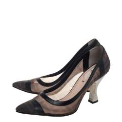 Fendi Beige/Black Leather And Mesh Colibri Logo Pointed Toe Pumps Size 38