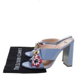 Fendi Blue Patent Leather Flowerland Mule Sandals Size 39