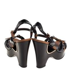 Fendi Black/Tan Patent Leather And Leather Buckle Detail Platform Ankle Strap Sandals Size 40