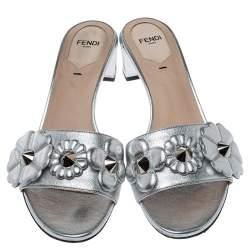 Fendi Silver Leather Flowerland Slide Sandals Size 38