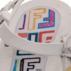 Fendi White Rubber Logo Charm Sunny Thong Flat Sandals Size 37