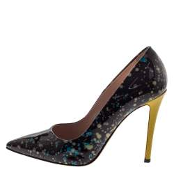 Fendi Black/yellow Patent Leather Anne Pointed Toe Pumps Size 37
