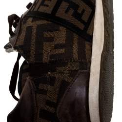 Fendi Tobacco Zucca Canvas and Leather Trim Low Top Sneakers Size 37.5
