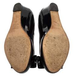 Fendi Black Patent Leather Bow Detail Wedge Pumps Size 37.5