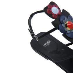 Fendi Multicolor Floral Applique Flat Sandals Size EU 39