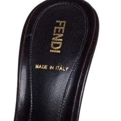 Fendi Brown/Black Zucca Canvas and Leather Bow Slides Size 37