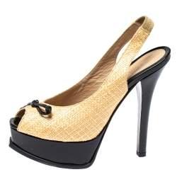 Fendi Beige/Black Raffia And Patent Leather Peep Toe Slingback Pumps Size 37