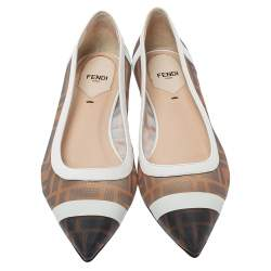 Fendi Brown/White Zucca Mesh And Leather Colibri Ballet Flats Size 38