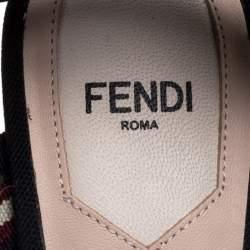 Fendi Black/Brown Mesh And Leather Colibri Slingback Pumps Size 37