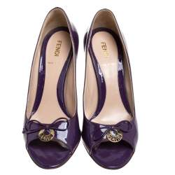 Fendi Purple Patent  Leather Bow Peep Toe Pumps Size 37