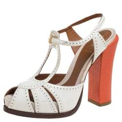 Fendi White Patent Leather Ankle Strap Sandals Size 36