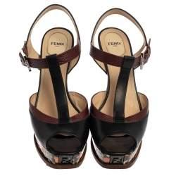 Fendi Black/Brown  Lizard Embossed And  Leather T Strap Platform Sandals Size 41