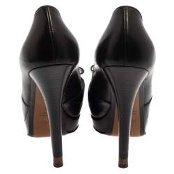 Fendi Black Leather Deco Bow Peep Toe Platform Pumps Size 40