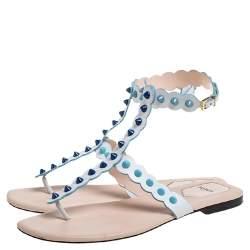 Fendi White Leather Studded Thong Flat Sandals Size 39