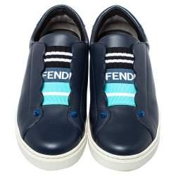 Fendi Navy Blue Leather Logo Knit Rockoko Scallop Detail Slip On Sneakers Size 37