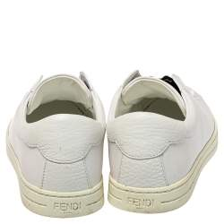 Fendi White Leather And Logo Knit Rockoko Slip On Sneakers Size 37.5
