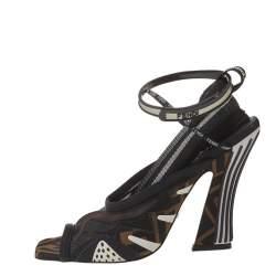 Fendi Multicolor Mesh And Canvas Ankle Wrap Sandals Size 37.5