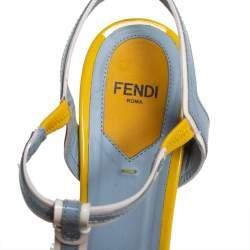 Fendi Blue/Yellow Patent Leather T- Strap Fendista Platform Sandals Size 38