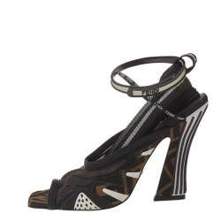 Fendi Multicolor Mesh And Canvas Ankle Strap Freedom Sandals Size 36.5