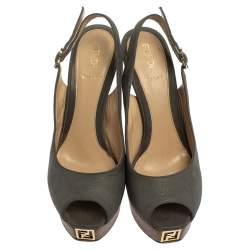 Fendi Grey Nubuck Leather Fendista Slingback Platform Pumps Size 37
