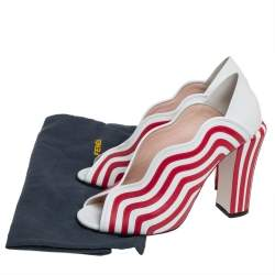 Fendi White/Red Striped Leather Block Heel Pumps Size 40