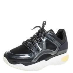 Fendi Black Leather And PVC Fancy Sneaker Size 38