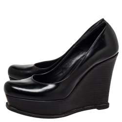 حذاء كعب عالى فندى كعب روكى نعل سميك فنديستا جلد أسود مقاس 38
