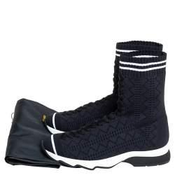 Fendi Black Knit Fabric Sock High Top Sneakers Size 35