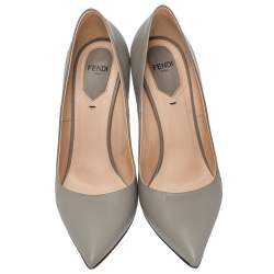 Fendi Grey Leather Pointed Toe Pumps Size 38.5