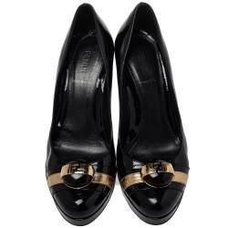 Fendi Black/Gold Patent Leather FF Logo  Platform Pumps Size 37