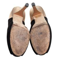 Fendi Black/Gold Suede And Suede Peep Toe Platform Pumps Size 38.5