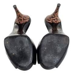 Fendi Black Patent Leather Peep Toe Slide Sandals Size 35.5