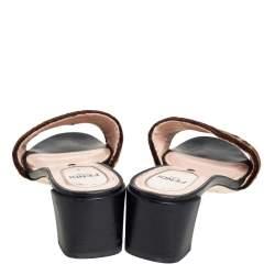 Fendi Brown FF Zucca Velvet Slide Sandals Size 37