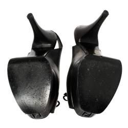 Fendi Black Leather Bow Peep Toe Slingback Platform Sandals Size 35