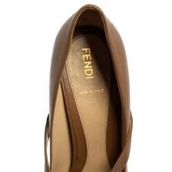 Fendi Brown Leather Embellished Peep Toe Platform Pumps Size 38