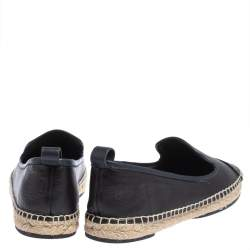 Fendi Navy Blue Leather And Black Croc Embossed Cap Toe Junia Espadrilles Flats Size 40