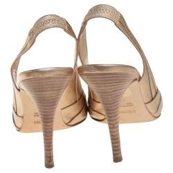 Fendi Metallic Gold Leather Open Toe Sligback Sandals Size 38