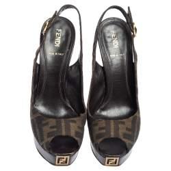 Fendi Tobacco Zucca Canvas Fendista Platform Slingback Sandals Size 37