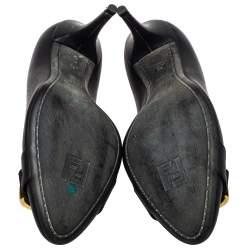 Fendi Black Leather Chameleon Buckle Pumps Size 40